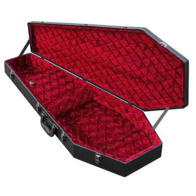 Coffin Case G-185R Standard Size Guitar Case - Black with Red Velvet Interior for sale