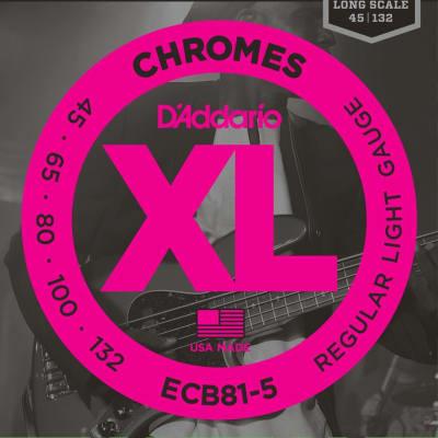 D'Addario ECB81-5 Chromes Bass 5-String, Light, 45-132, Long Scale