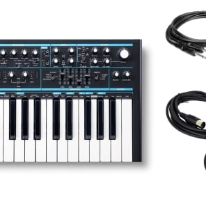 Novation Bass Station II Synthesizer w/ 2 Instrument & 2 MIDI Cables Bundle
