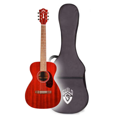 Guild M120E Westerly Series Concert Size Acoustic/Electric Guitar Cherry Red Finish w/ Polyfoam Case for sale