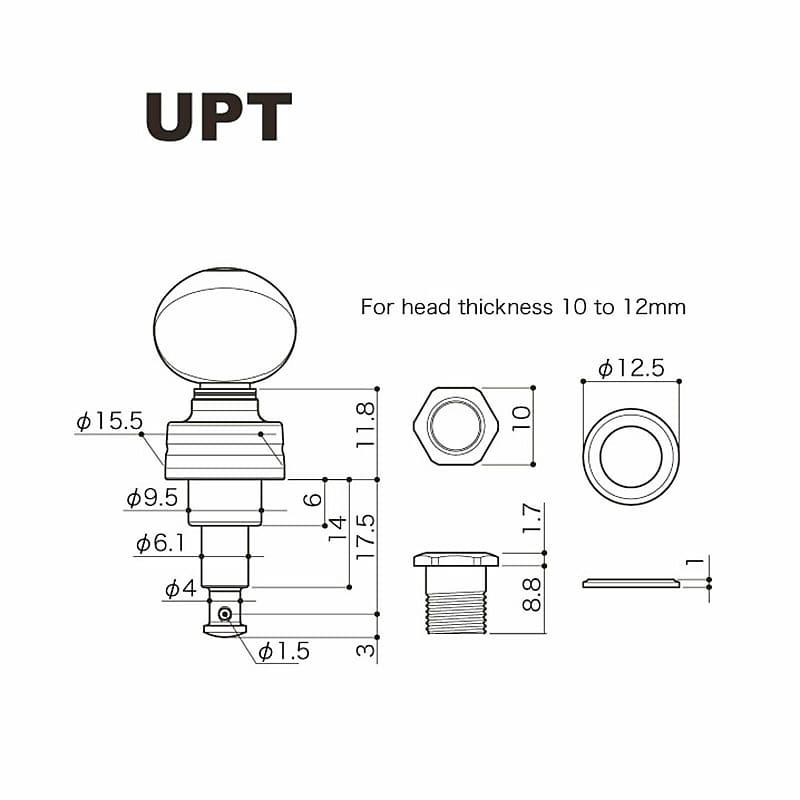 NEW Gotoh UPT-UB7 Sealed Planetary Ukulele Tuning Keys SET Pearloid Buttons GOLD