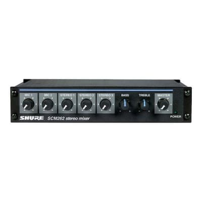 Shure SCM262 Stereo Microphone Mixer with 2 XLR Mic Inputs, Stereo 1/4  Outputs, Stereo RCA Outputs, 12 V Phantom Power