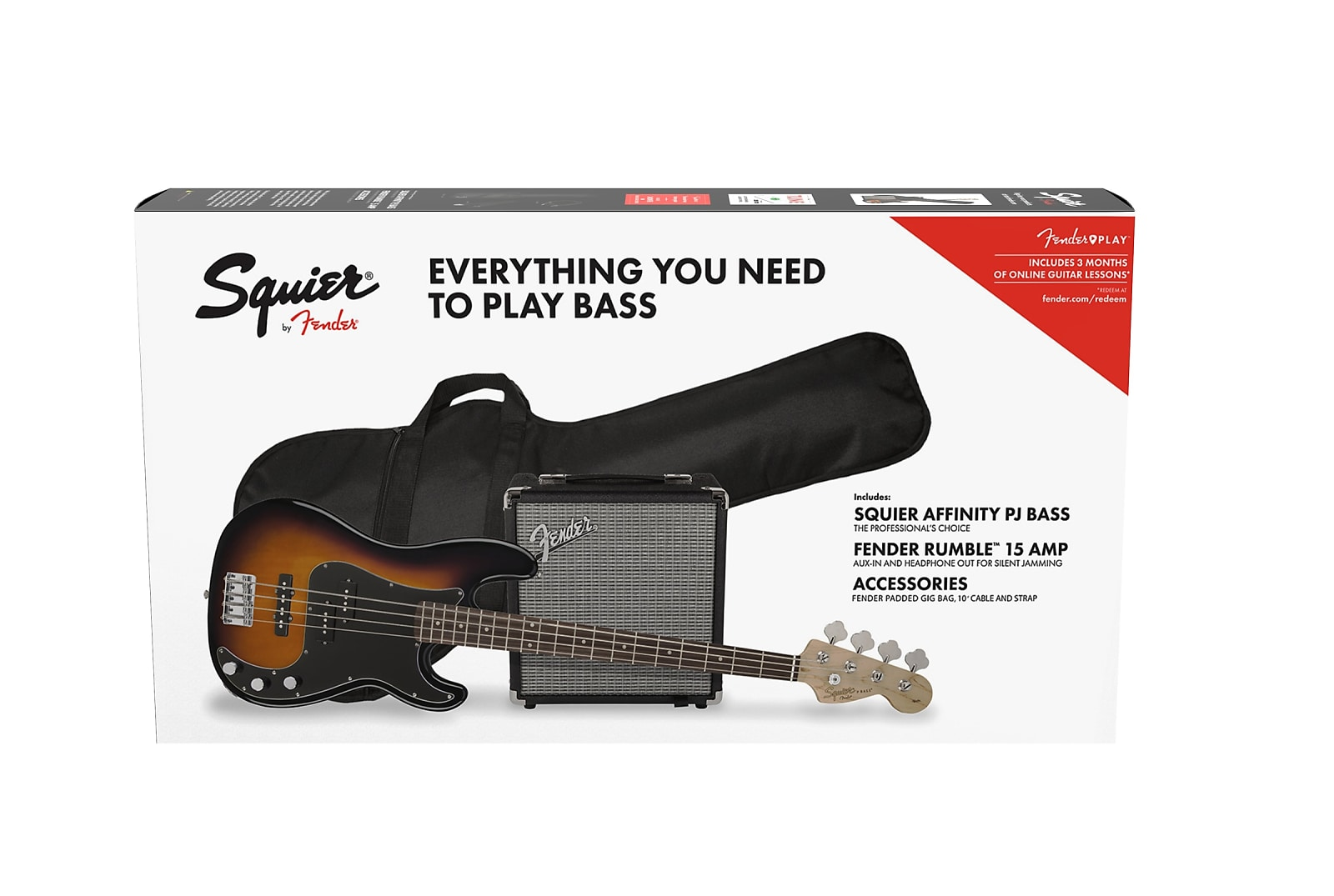 feab72f2229 Squier Affinity Series Precision Bass PJ Pack Brown Sunburst