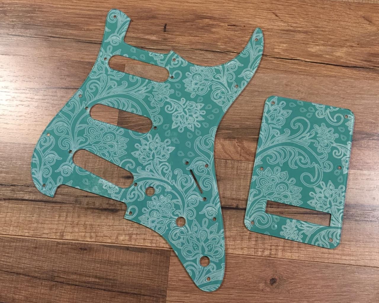 custom floral paisley seafoam green pickguard fender reverb. Black Bedroom Furniture Sets. Home Design Ideas