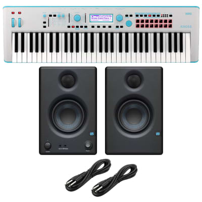 Korg KROSS 2 61-Key Synthesizer Workstation (Gray-Blue), Presonus Eris3.5 Monitors, (2) 1/4 Cables Bundle