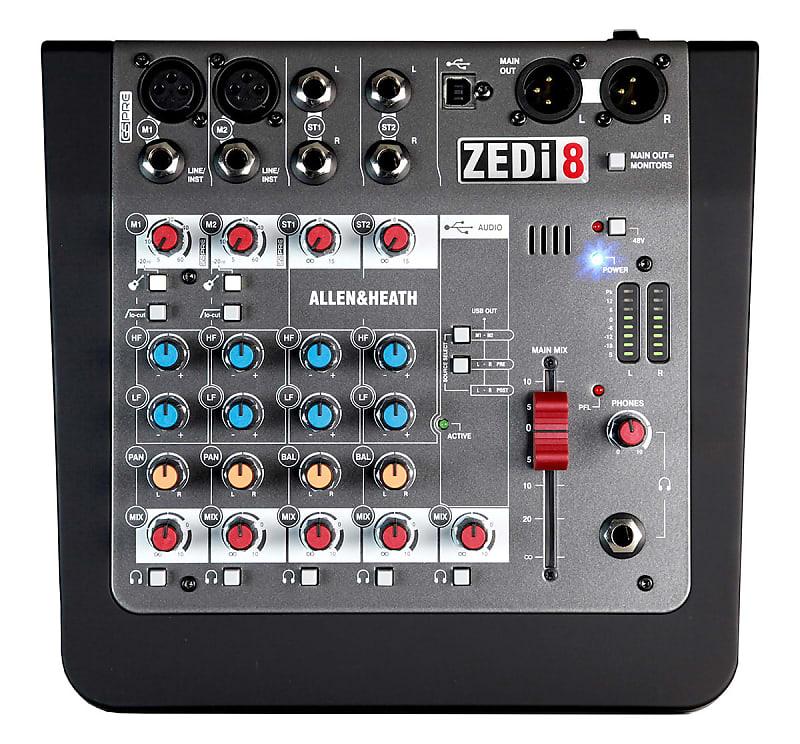 Allen & Heath ZEDi-8 Compact Hybrid 8-Input Mixer / 2x2 USB Audio Interface