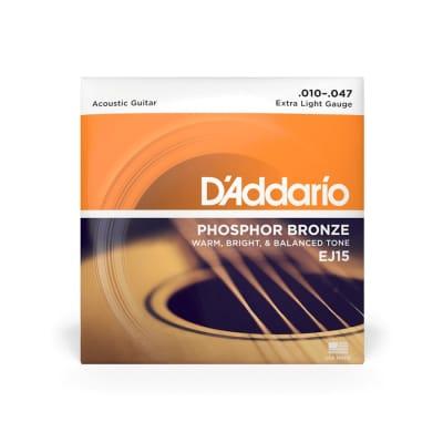 D'Addario EJ15 Extra Light Gauge Phosphor Bronze Strings 10-47