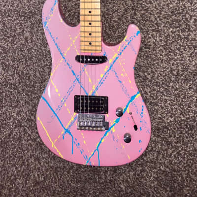 Vintage Peavey Tracer Pink splatter electric guitar made in the USA for sale
