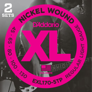 D'Addario EXL170-5TP Nickel Wound Bass Guitar Strings Light 45-130 2 Sets Long Scale