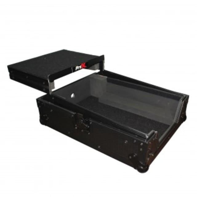 "PROX  Mixer ATA Flight Hard Case for Large Format 12"" Universal DJ Mixer with Laptop Shelf Black on Black 2018 BLACK image"