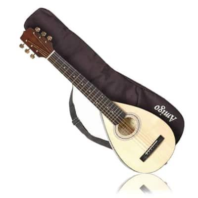 Amigo AMT10 Solid Spruce Top 6-String Acoustic Travel Guitar w/Gig Bag for sale