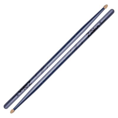 Zildjian Z5ACBU 5A Chroma Blue Metallic Paint Drum Sticks Pair