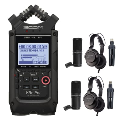 Zoom H4n Pro All Black 4-Track Portable Recorder in Black (2020 Version) Bundle with 2x Zoom ZDM-1 Podcast Mic Pack