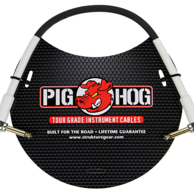 "Pig Hog 1ft 1/4"" Right Angle - 1/4"" Right Angle Inst. Cable - Available Now!"