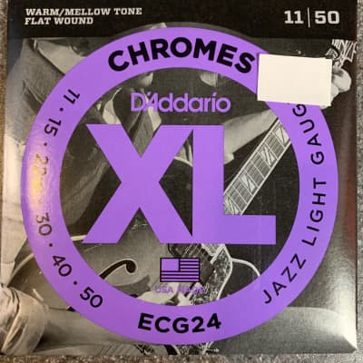 D'Addario Chromes Flat Wound, Jazz Light, 11-50, Electric Guitar Strings ECG24