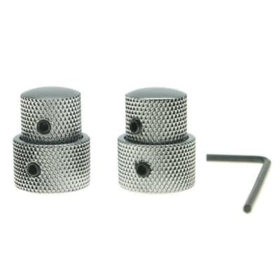 *NEW 2 CONCENTRIC CONTROL KNOBS for Guitar+ Bass Volume Tone Knurled Chrome