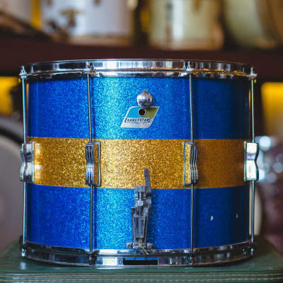 Ludwig Late 70s Marching Drum in Blue & Gold Sparkle - 12x15