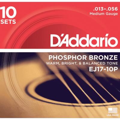 D'Addario EJ17-10P 10-Pack Phosphor Bronze Medium Acoustic Strings 13-56