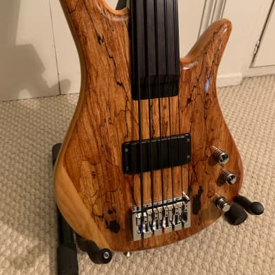 Zon Sonus Fretless 5 String Bass Spalted Maple Natural With Case for sale