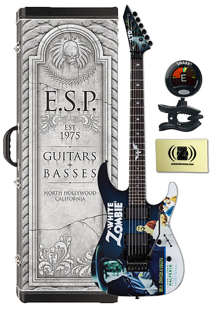 ESP LTD White Zombie Electric Guitar beginner bundle: tuner, picks and  Zorro Sounds cleaning cloth