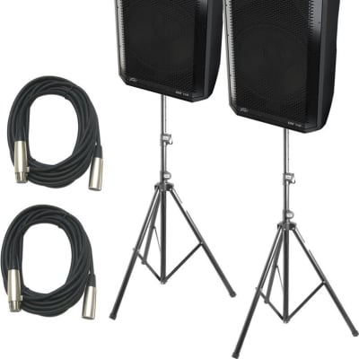 "2 Peavey Dark Matter DM 115 15"", 1320 Watts Powered Speaker Bundle With Two Speaker Stand & Cables"