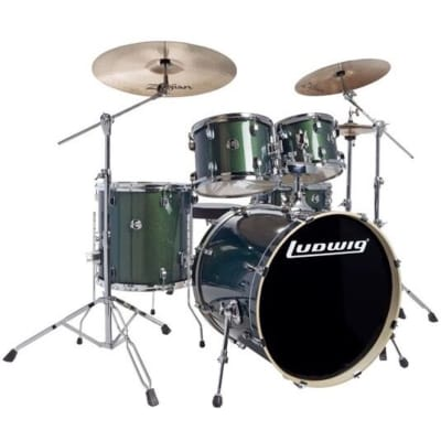 Ludwig LCEE22 Element Evo Complete Drum Kit (5-Piece), Green Sparkle, with Zildjian Cymbals