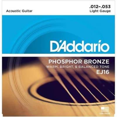 D'Addario EJ16 Light Gauge Acoustic Guitar Strings, .012 - .053
