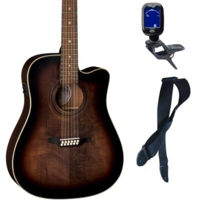 Luna Guitars ART V DCE 12 Art Vintage12 String A/E Guitar, Bundle
