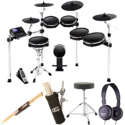 Alesis DM10 MKII Pro Kit | Ten-Piece Electronic Drum Kit with Mesh Heads + Dynamic Stereo Headphones + Drum Stick Holder + Drum Throne + Maple Wood 5B Drumsticks (1 Pair)