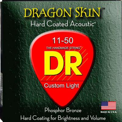 DR Strings DSA-11 Dragon Skin K3 Coated Medium-Light Acoustic Strings 11-50