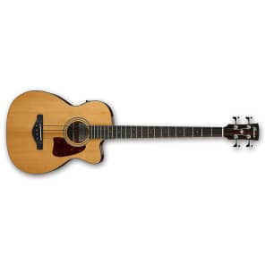 Ibanez AVCB9CE-NT Solid Sitka Spruce/Mahogany Grand Concert Acoustic/Electric Bass Natural High Gloss