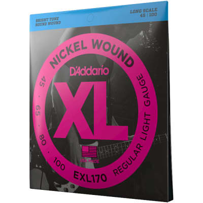 D'Addario EXL170 Regular Light, Nickel Wound Bass Strings, 45-100