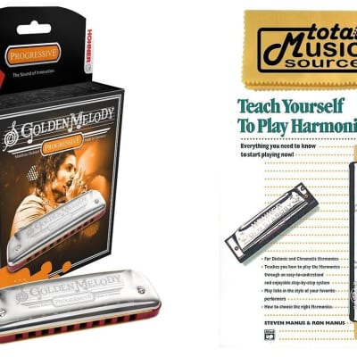 HOHNER Golden Melody Harmonica, Key A, Made in Germany, Case & Book, 542BL-A BK