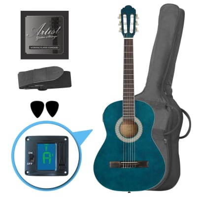 Artist CL34TBB 3/4 Size Classical Guitar Pack, Nylon String - Blue for sale