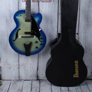 Ibanez AFC155 Archtop Hollow Body Electric Guitar Jet Blue Burst w Hardshell Cas for sale