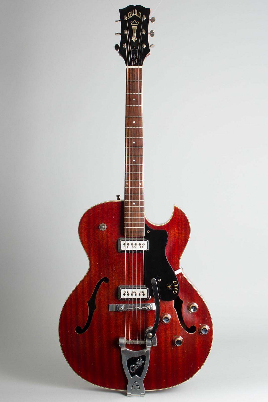 Guild  Starfire III Thinline Hollow Body Electric Guitar (1963), ser. #23173, original black hard shell case.