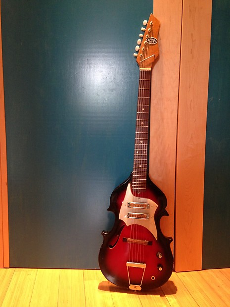 Rare Ags Vintage Mij 6 String Violin Shaped Guitar With