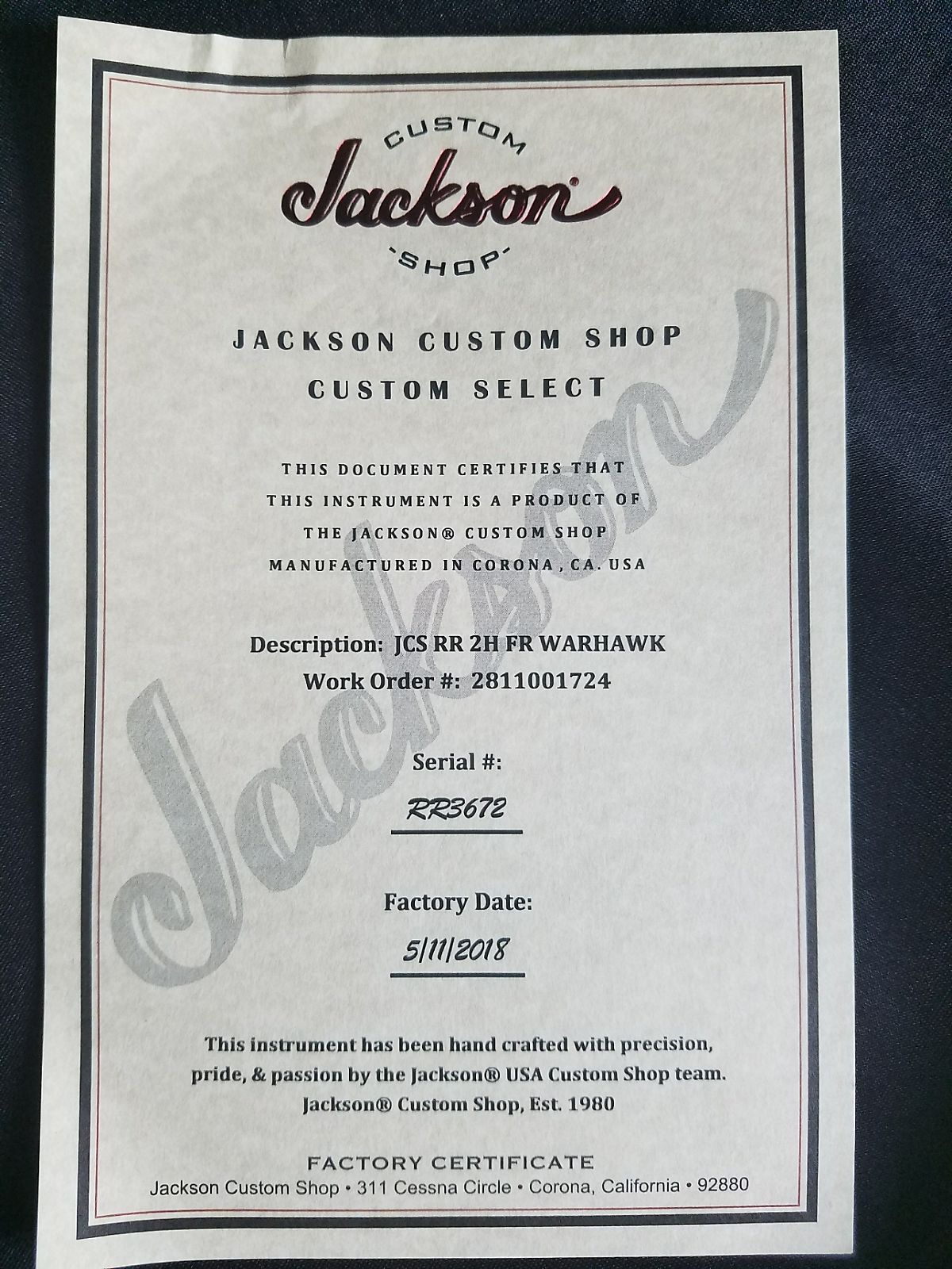 Jackson USA Custom Shop - Red Dragon Guitars x Mike Learn Exclusive Warhawk Rhoads