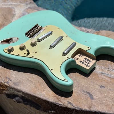 Real Life Relics Loaded Strat Stratocaster Body Aged Surf Green Hardtail W Lipstick Pickups