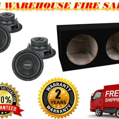 """2 NEW ROCKFORD FOSGATE R2D4-12 12"""" SUBWOOFER 500 WATTS + ENCLOSURE BASS PACKAGE"""