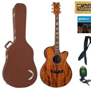 Dean Koa Performer Natural Acoustic/Electric Guitar, DMT Preamp w/ Tuner, PE KOA HSPACK  Case Bundle for sale