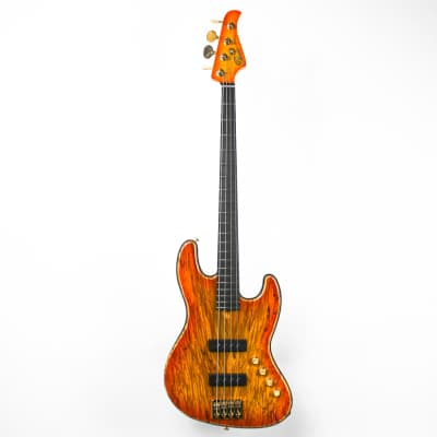 Pensa J-4 String Bass 0877 Honey Burst Spalted Amber/Transblack 2020 for sale