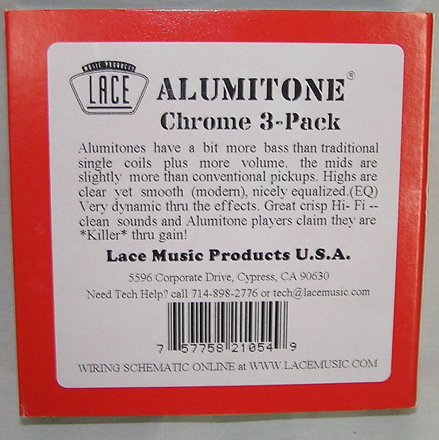 Lace Alumitone Single Coil Pickup Set Chrome And Black New in – Lace Alumitone Pickup Wiring Diagram