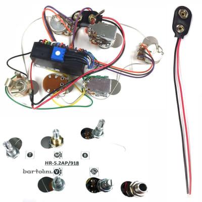BARTOLINI HR5.2AP/918 Prewired Active/Passive Preamp Harness 9/18V 3 Band EQ