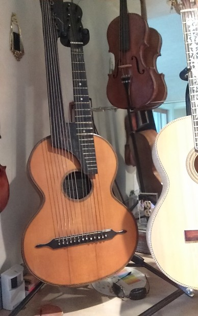 german harp guitar 13 string late 1800s natural reverb. Black Bedroom Furniture Sets. Home Design Ideas