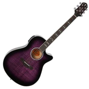 Crafter Noble Acoustic Guitar Flame Maple Small Jumbo Cut Away for sale