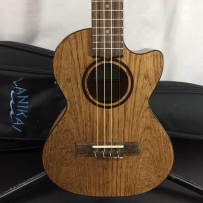 Lanikai OA-CET Oak Tenor Cutaway A/E Ukulele w/Fishman Kula Preamp/Tuner and Gig Bag - Return