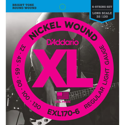 D'Addario EXL170-6 Nickel Wound Long Scale 6-String Bass Guitar Strings, Light Gauge