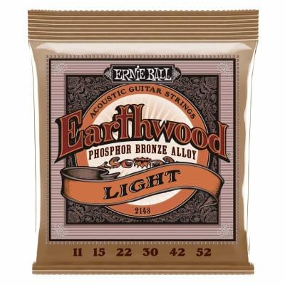 Ernie Ball 2148 Earthwood Light Phosphor Bronze Acoustic Guitar String Set, .011 - .052