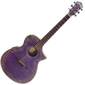 Ibanez AEWC32FM-GVL Thinline Acoustic/Electric Guitar w/ Flame Maple Top Glacier Violet Low Gloss